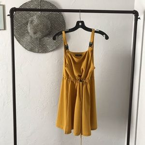 Yellow Overall Dress
